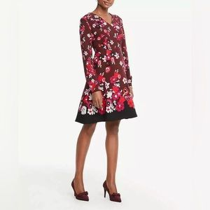 New Ann Taylor long sleeve floral v neck dress